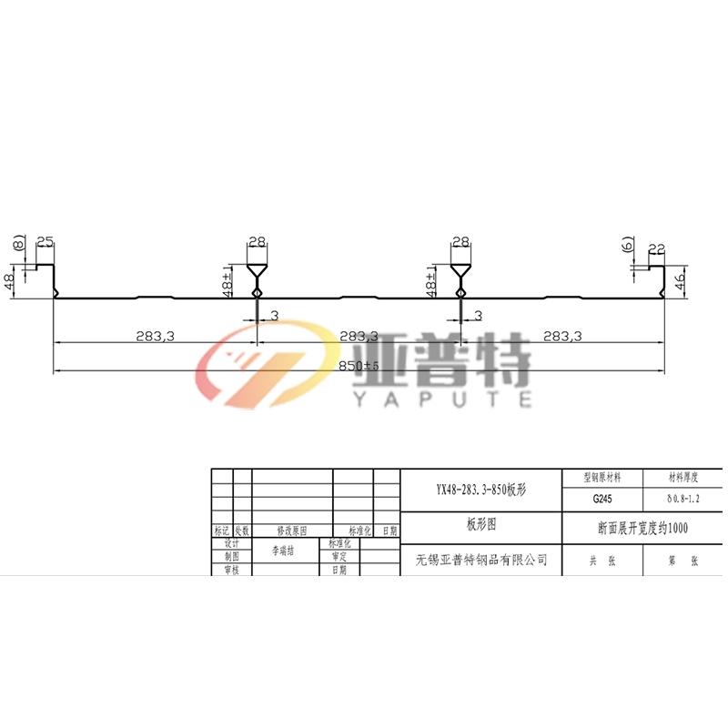 YX48-283.3-850板形